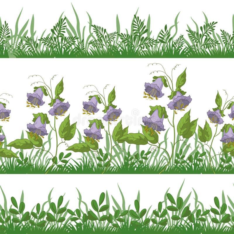 草和花,设置了无缝 向量例证