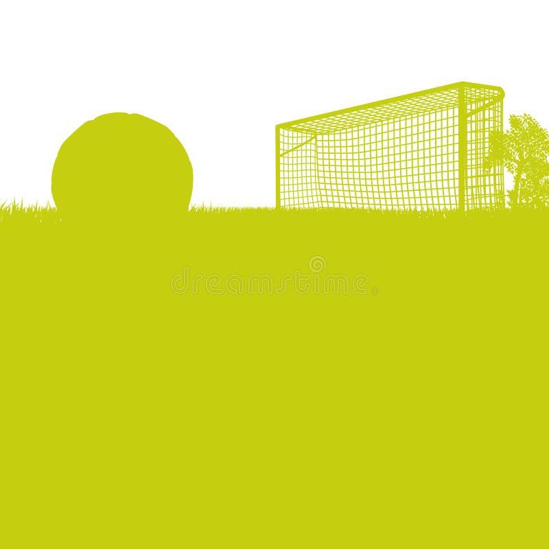 草和足球场与足球 向量例证