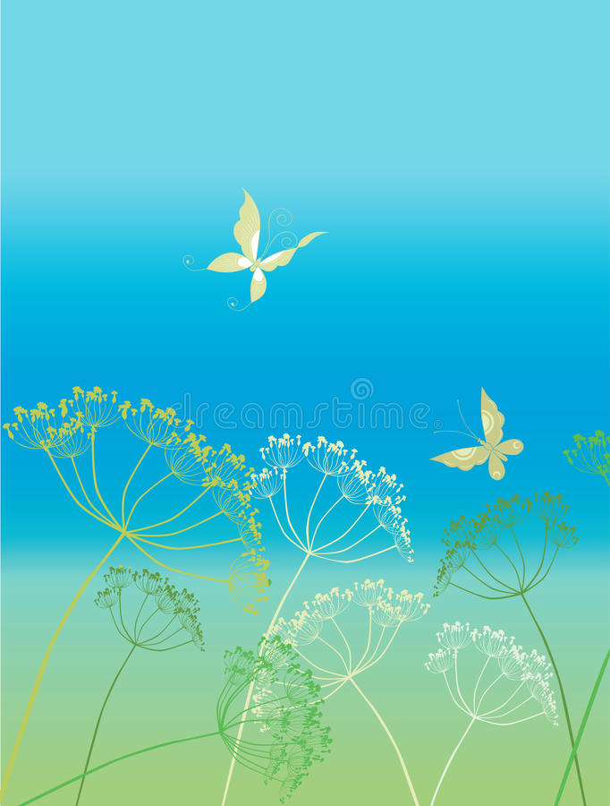 草和蝴蝶 皇族释放例证