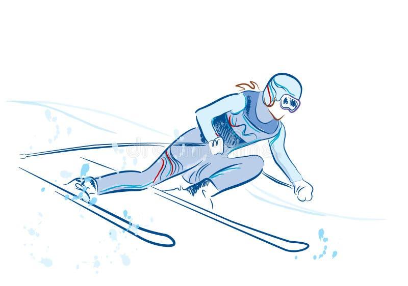 草图滑雪者 向量例证