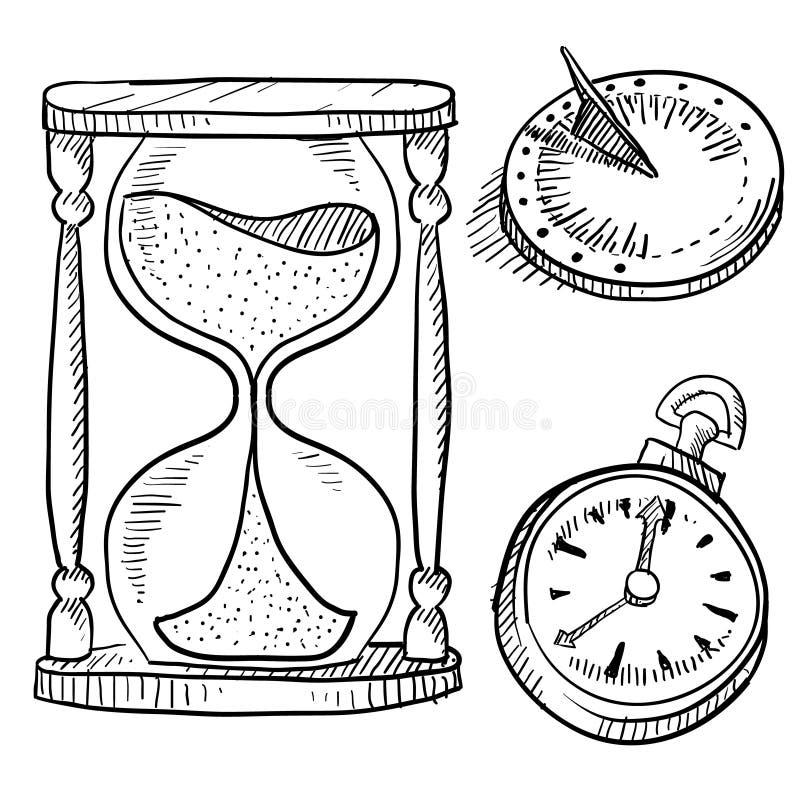 草图钟表 向量例证