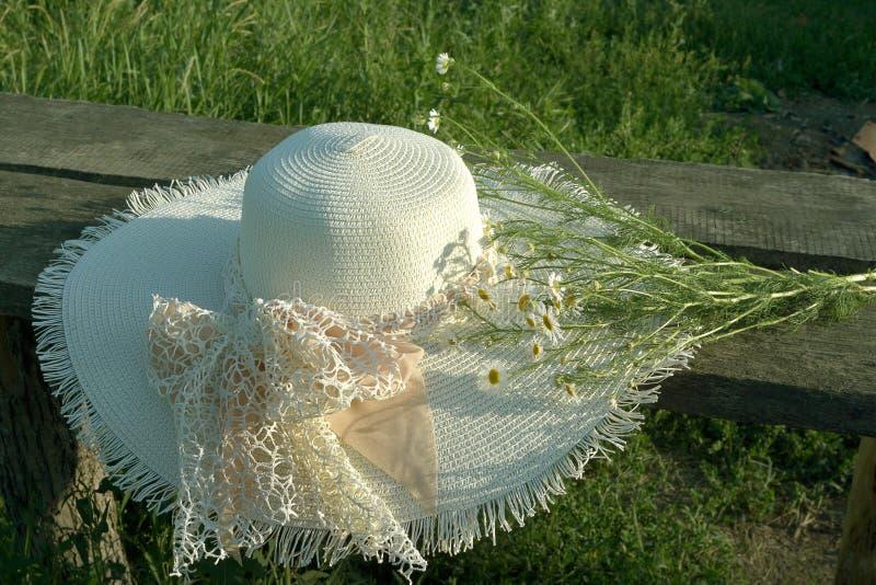 草帽,在一个长木凳的谎言与领域春黄菊花束  免版税库存图片