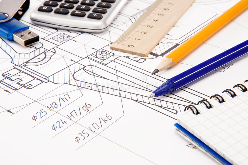 草拟的闪存笔记本铅笔 免版税库存图片