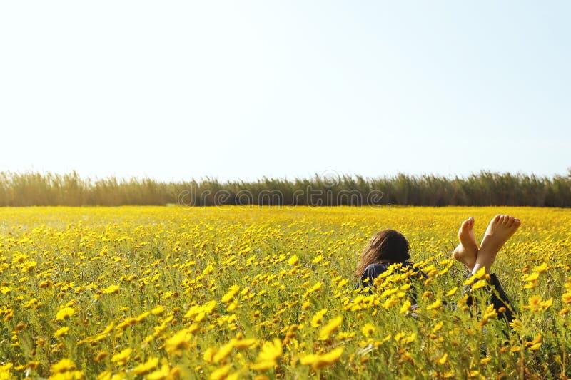 草斜倚的妇女 库存图片