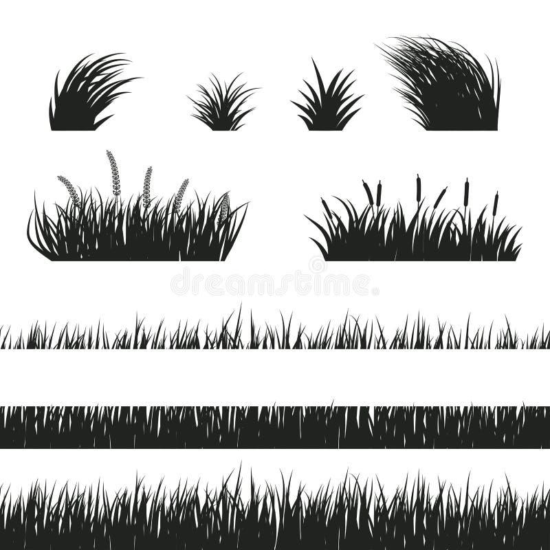 草无缝黑白 向量例证