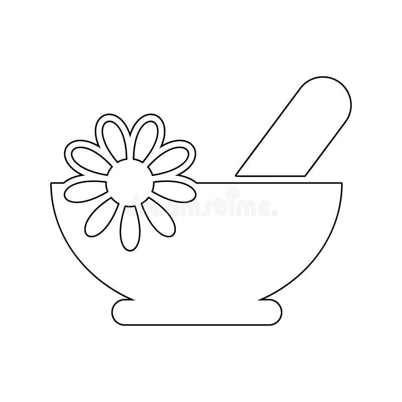 草本浴黑色象 温泉的元素流动概念和网应用程序象的 网站设计和发展的稀薄的线象, 向量例证