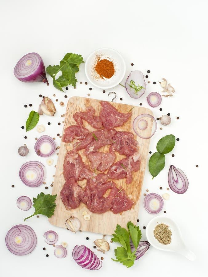 草本用了卤汁泡与芝麻亚洲食物样式的猪肉 库存照片