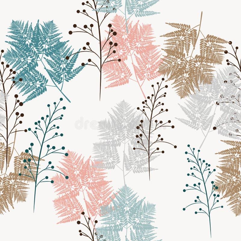 草本的无缝的传染媒介样式和蕨,织品的、纸和其他打印和网项目 向量例证