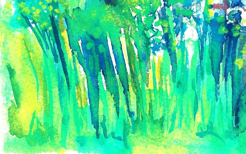 草本绿色背景 夏天高草 向量例证