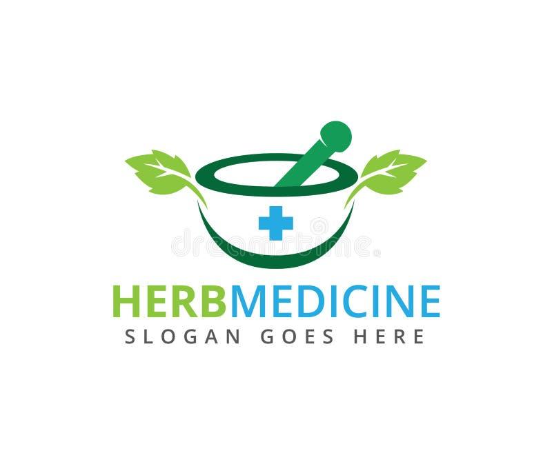 草本药房药物治疗医学诊所商标设计 向量例证