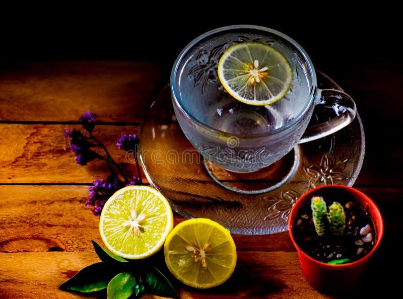 草本饮料,凉快的柠檬苏打软饮料在与小盘的美丽的水晶玻璃服务在木桌和阳光早晨 库存图片