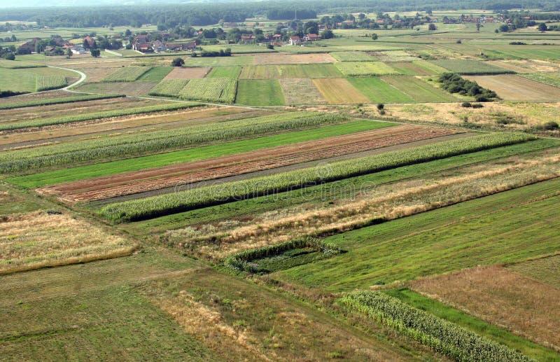 草甸和领域鸟瞰图在北部克罗地亚 库存照片