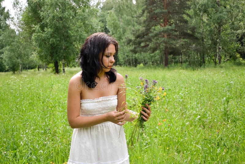 草甸采摘的秀丽女孩开花,春天心情 免版税库存照片