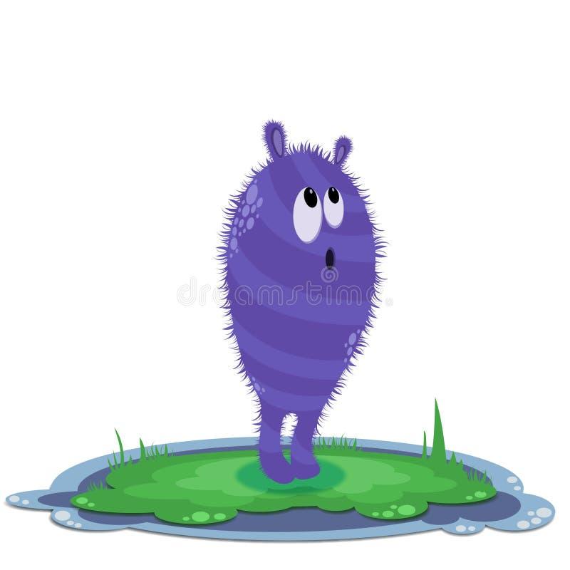 草的好奇紫色妖怪 免版税库存图片