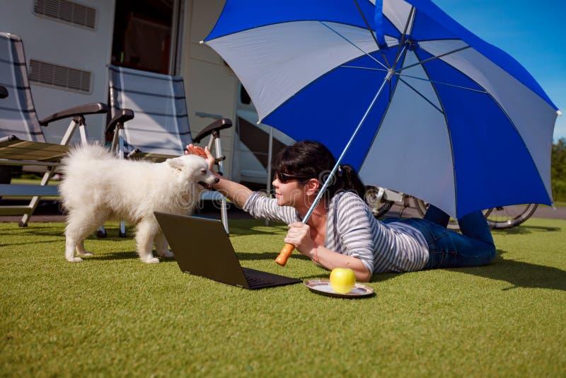 草的妇女与看膝上型计算机的狗 库存照片