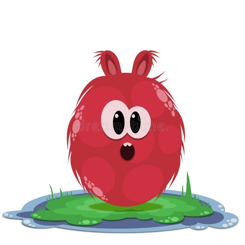 草的惊奇的红色圆的妖怪 库存图片