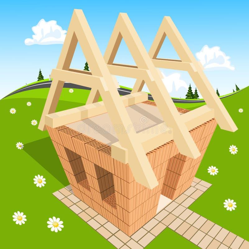 绿草的未完成的房子 向量例证