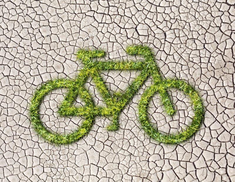 从草的生态自行车在破裂的地球背景 向量例证