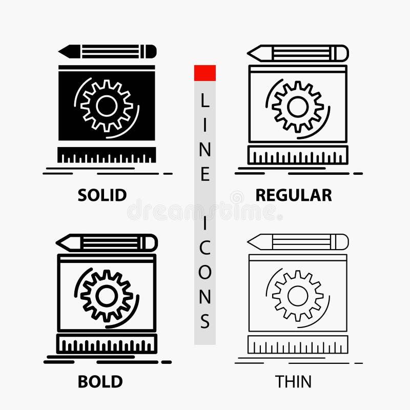 草稿,工程学,过程,原型,在稀薄,规则,大胆的线和纵的沟纹样式的原型象 r 库存例证