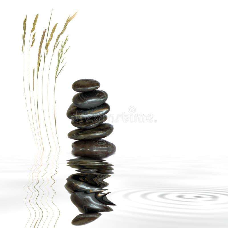 草自然温泉石头 免版税库存图片
