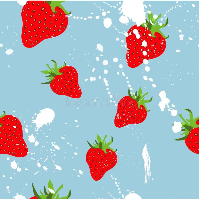 草莓与奶油色纹理的季节果子 抽象模式无缝的向量 皇族释放例证