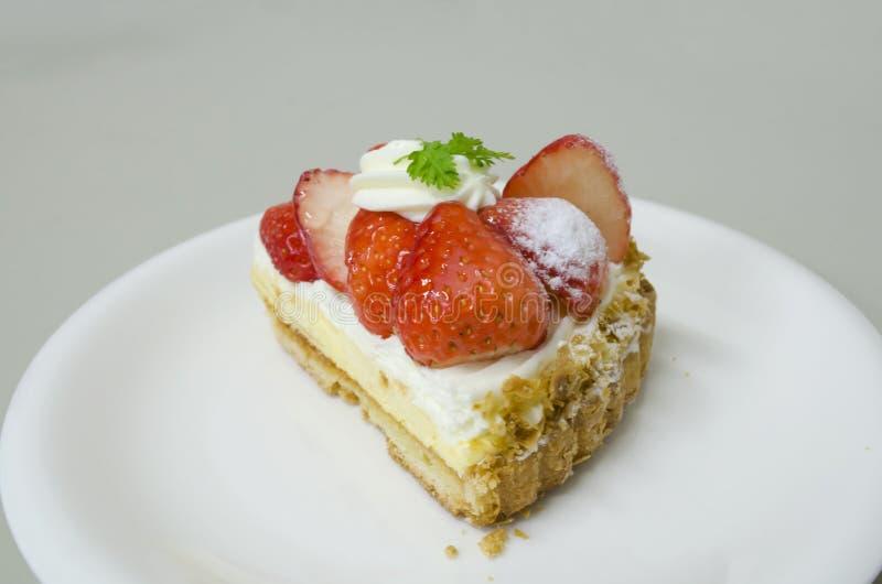 草莓乳酪饼 库存图片