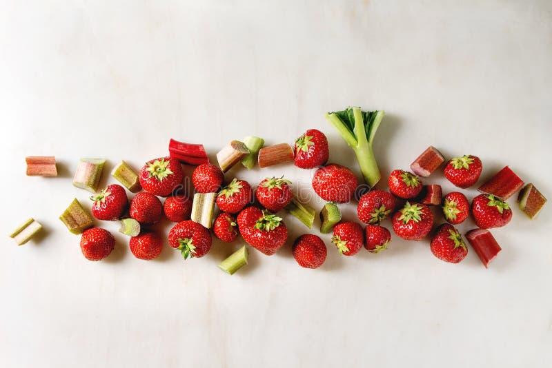 草莓和大黄 免版税库存照片