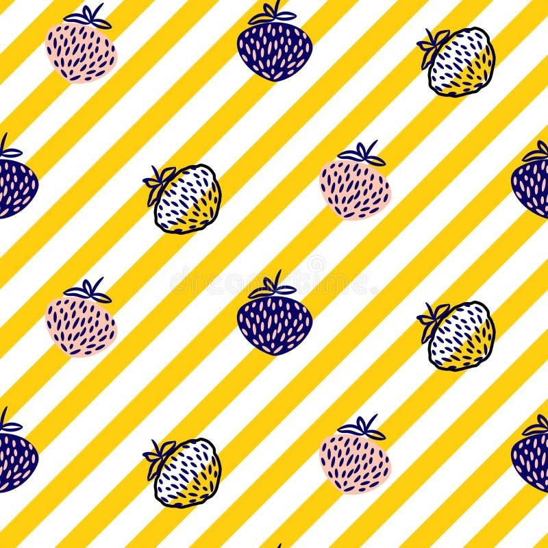 草莓和条纹黄色无缝的传染媒介样式 皇族释放例证