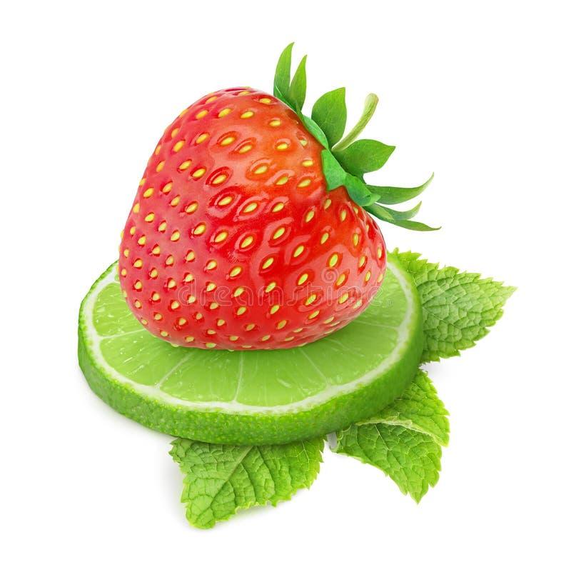 草莓和石灰 免版税图库摄影