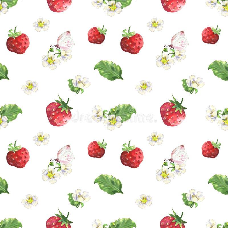 草莓和蝴蝶图案 皇族释放例证