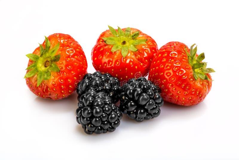 草莓和黑莓 库存照片