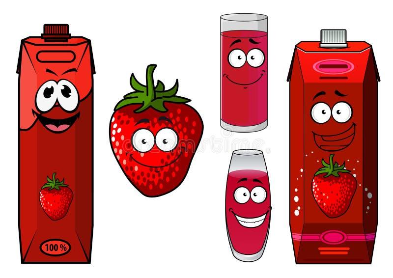 草莓圆滑的人或汁象集合 向量例证