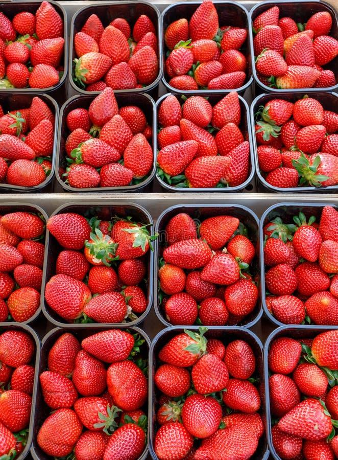 草莓在市场上 免版税库存照片