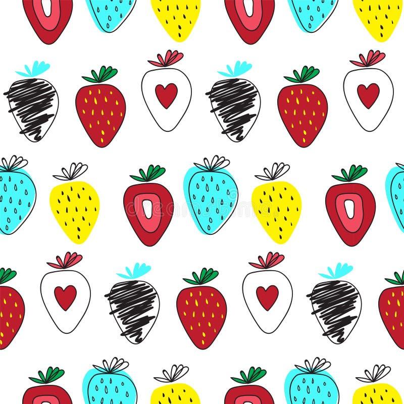 草莓季节果子纹理 抽象模式无缝的向量 手凹道艺术 库存例证