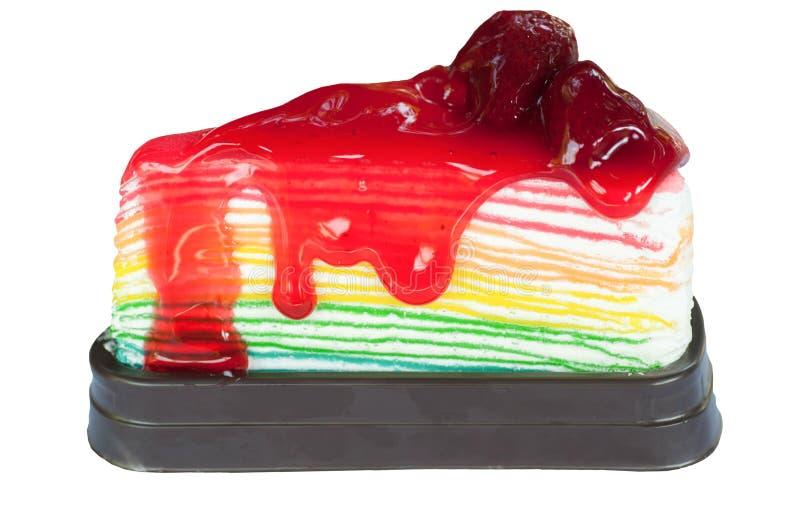 草莓彩虹绉纱蛋糕 库存图片