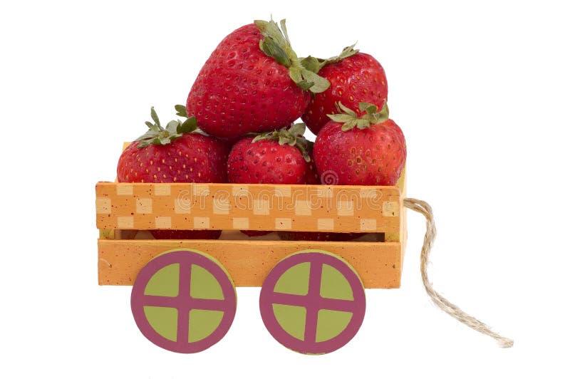 草莓无盖货车 免版税库存照片