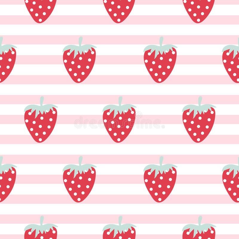 草莓无缝的传染媒介条纹图形 向量例证