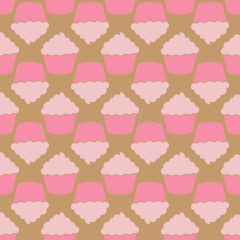 草莓桃红色奶油色杯形蛋糕无缝的样式 皇族释放例证