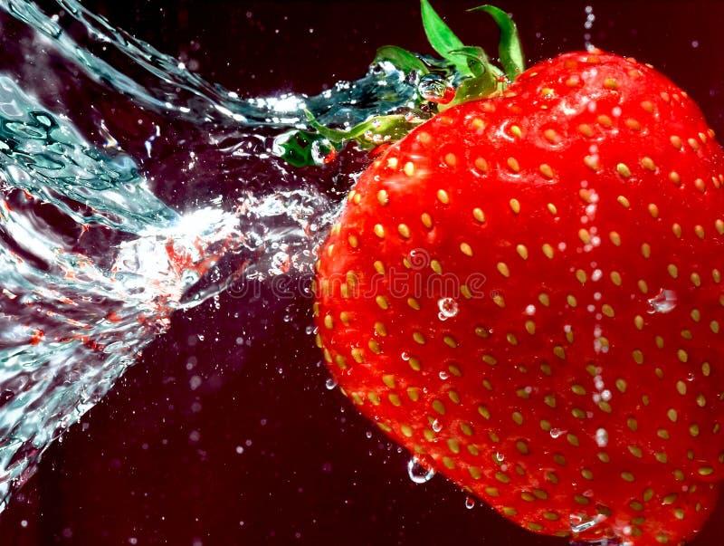草莓游泳水 库存图片