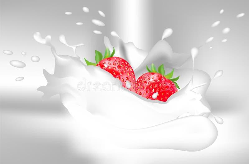 草莓用牛奶或酸奶 在浅灰色的背景飞溅牛奶/酸奶 r 向量例证
