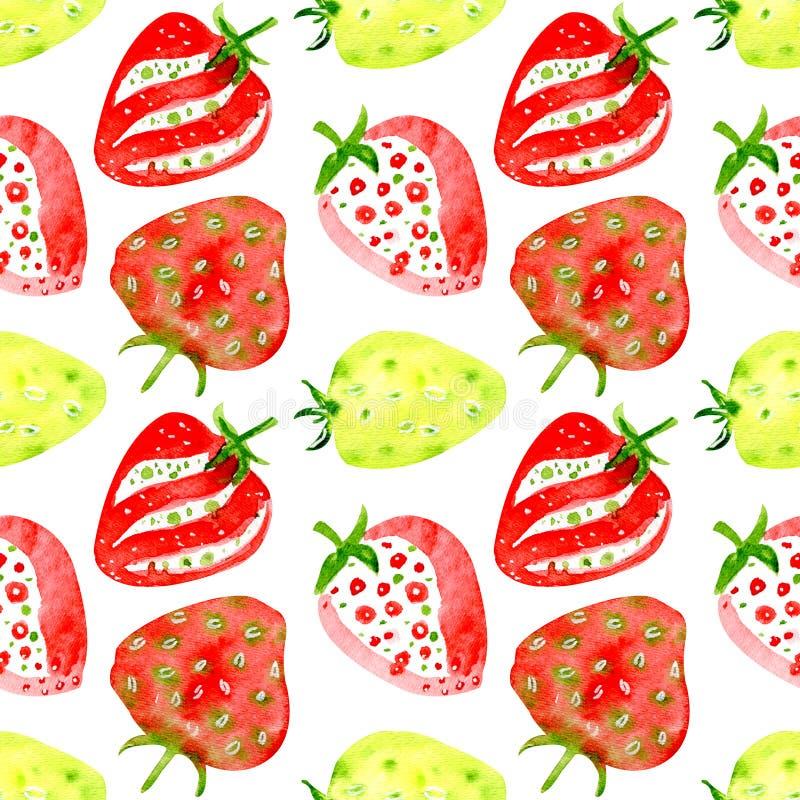 草莓的水彩无缝的样式 皇族释放例证