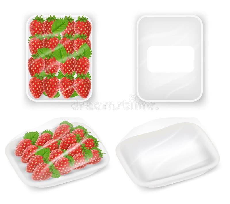 草莓盘子包裹传染媒介现实大模型 向量例证