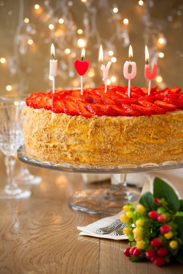 草莓蛋糕 库存图片