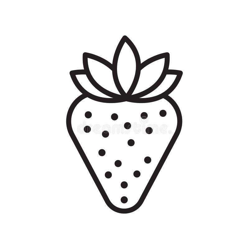 草莓象在白色背景和标志隔绝的传染媒介标志,草莓商标概念,概述标志,线性标志, 向量例证