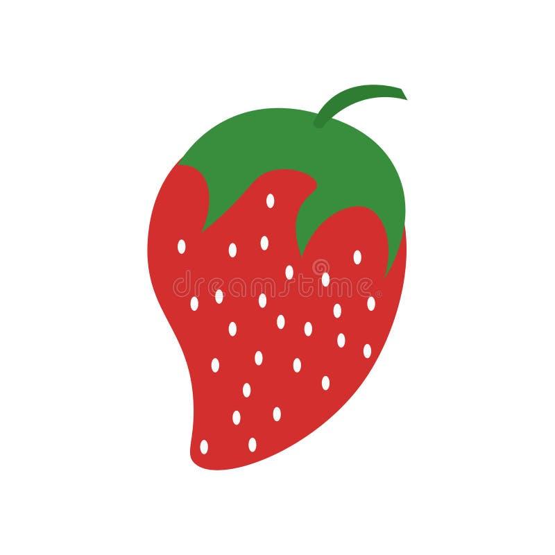 草莓象在白色背景和标志隔绝的传染媒介标志,草莓商标概念 皇族释放例证