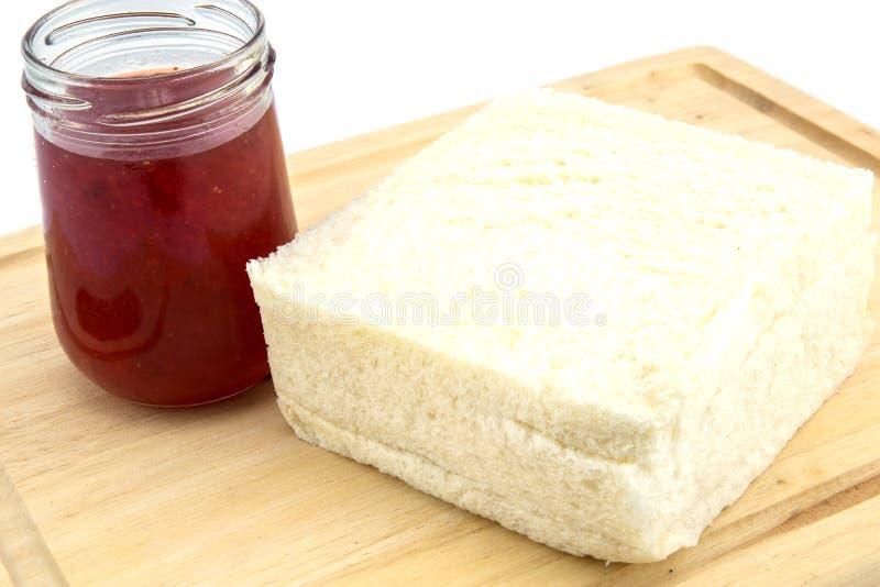草莓酱和面包 库存照片