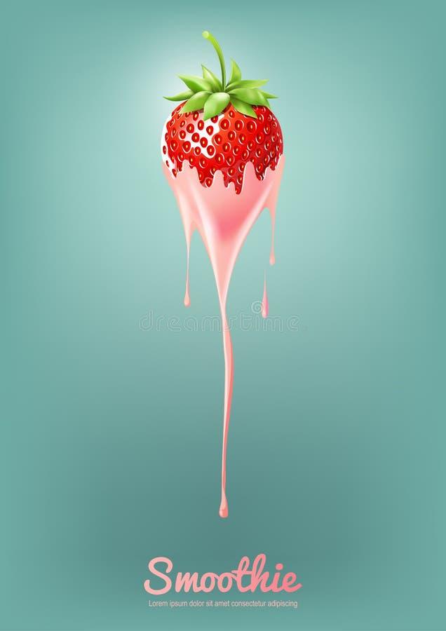 草莓酸奶和圆滑的人挤奶用果子,汁液概念,传染媒介例证 向量例证