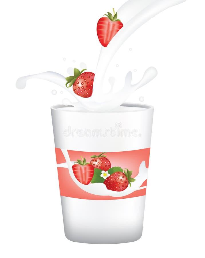 草莓酸奶 皇族释放例证