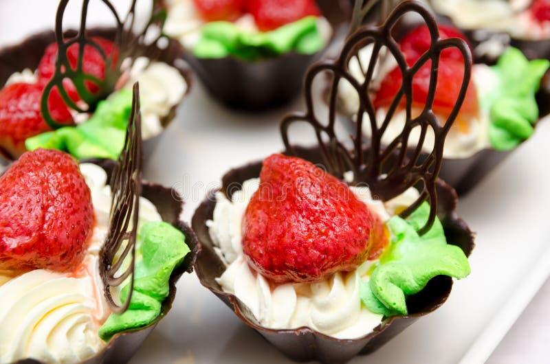 草莓鞭子奶油 免版税库存照片