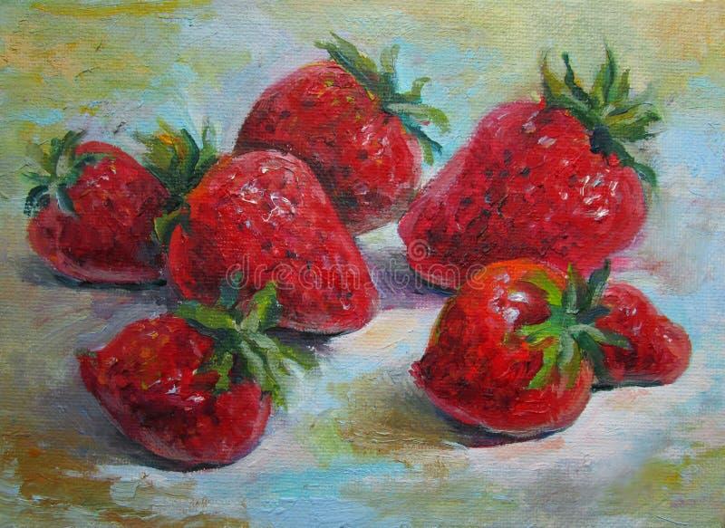 草莓,在帆布的原始的油画 向量例证